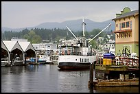 Harbor Quay with the Lady Rose ferry, Port Alberni. Vancouver Island, British Columbia, Canada (color)