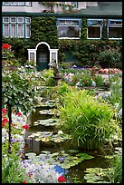 Pond in Italian Garden and Dining Room. Butchart Gardens, Victoria, British Columbia, Canada