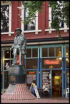 Statue and cafe in Gastown. Vancouver, British Columbia, Canada ( color)