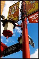 Street names in English and Chinese, Chinatown. Vancouver, British Columbia, Canada
