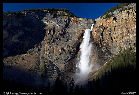 Clif and Takakkaw Falls, one the Canada's highest waterfalls. Yoho National Park, Canadian Rockies, British Columbia, Canada (color)