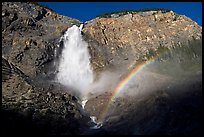 Takakkaw Falls and rainbow, late afternoon. Yoho National Park, Canadian Rockies, British Columbia, Canada