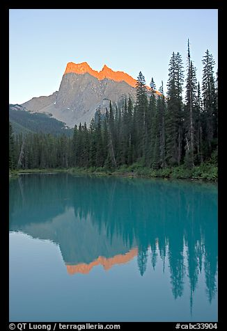 Mount Burgess reflected in Emerald Lake, sunset. Yoho National Park, Canadian Rockies, British Columbia, Canada
