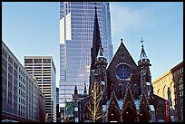 Church and modern buildings, Montreal. Quebec, Canada