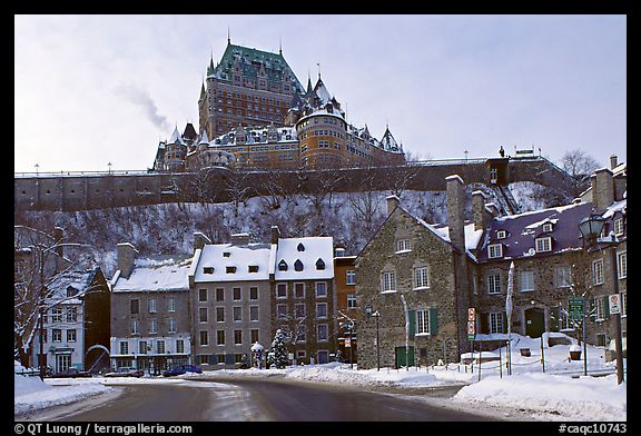 Chateau Frontenac on an overcast winter day, Quebec City. Quebec, Canada (color)