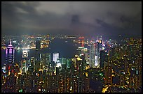City lights from Victoria Peak by night. Hong-Kong, China (color)
