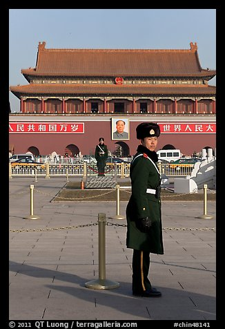 Guards and Tiananmen Gate, Tiananmen Square. Beijing, China