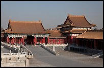 Corner Pavilion and gate, Front Court, Forbidden City. Beijing, China ( color)