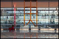 Reflections in glass and marble, Capital International Airport. Beijing, China ( color)