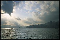 Hong-Kong Island seen from the Promenade, early morning. Hong-Kong, China (color)