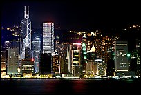 Hong-Kong skycrapers by harbor at night. Hong-Kong, China ( color)