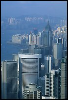 Modern high-rise buildings  from Victoria Peak, late afternoon, Hong-Kong Island. Hong-Kong, China ( color)