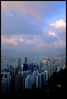 Hong-Kong Island from Victoria Peak, sunset. Hong-Kong, China ( color)