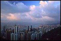 Hong-Kong skyline  from Victoria Peak, sunset. Hong-Kong, China ( color)