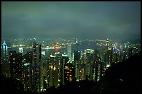 Hong-Kong lights from Victoria Peak at night. Hong-Kong, China ( color)