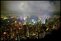 Hong-Kong night citiscape lights from Victoria Peak. Hong-Kong, China ( color)