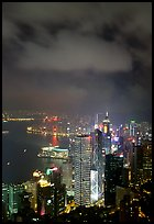 Skycraper Hong-Kong city lights from Victoria Peak at night. Hong-Kong, China ( color)
