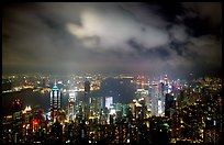 Skycrapers from Victoria Peak at night. Hong-Kong, China ( color)