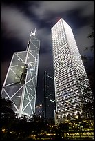 Bank of China (369m) and Cheung Kong Center (290m) buildings at night. Hong-Kong, China ( color)