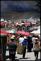 Periphery of  Monday market frequented by hill tribespeople. Shaping, Yunnan, China