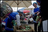 Bai tribeswomen buy vegetables at Monday market. Shaping, Yunnan, China ( color)