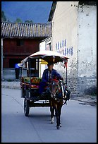 House carriage in a street. Dali, Yunnan, China