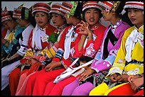 Tour guides dressed with traditional Sani outfits. Shilin, Yunnan, China ( color)