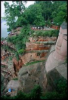 Da Fo (Grand Buddha) with staircase in cliffside and river in the background. Leshan, Sichuan, China ( color)