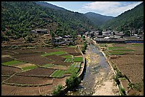 Village on the road between Lijiang and Panzhihua. (color)