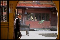 Monk in Jinding Si temple. Emei Shan, Sichuan, China