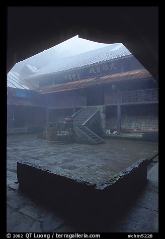 Courtyard inside  Xiangfeng temple. Emei Shan, Sichuan, China