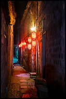 Alley with lanterns at night. Hongcun Village, Anhui, China ( color)