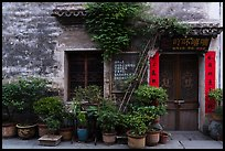 Facade with potted plants. Hongcun Village, Anhui, China ( color)
