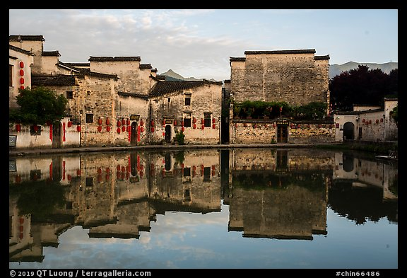 Houses reflected in Moon Pond. Hongcun Village, Anhui, China (color)