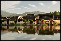 Village reflected in Nanhu Lake, morning. Hongcun Village, Anhui, China ( color)