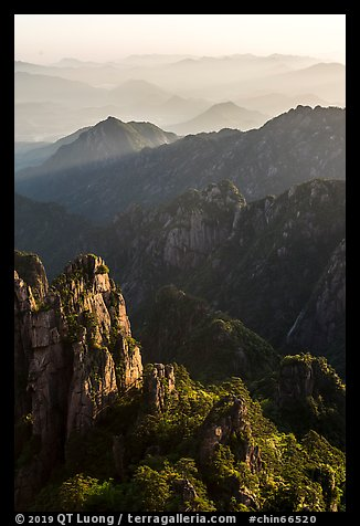 Spires and distant ridges. Huangshan Mountain, China (color)
