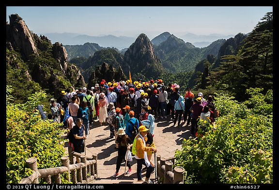 Tourists at overlook. Huangshan Mountain, China (color)