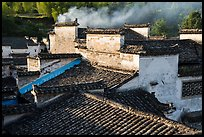 Rooftops and smoke. Xidi Village, Anhui, China ( color)