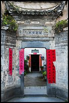 Gates with inscriptions. Xidi Village, Anhui, China ( color)