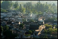 Village from above with morning mist. Xidi Village, Anhui, China ( color)