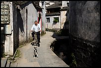 Dog and man on bike. Xidi Village, Anhui, China ( color)