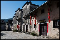 Plaza with historic houses. Xidi Village, Anhui, China ( color)