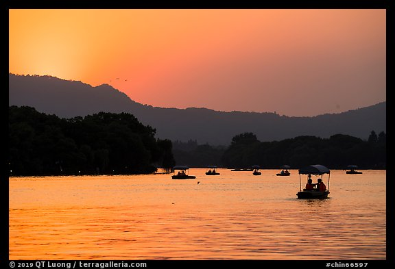 Boats on West Lake at sunset. Hangzhou, China (color)