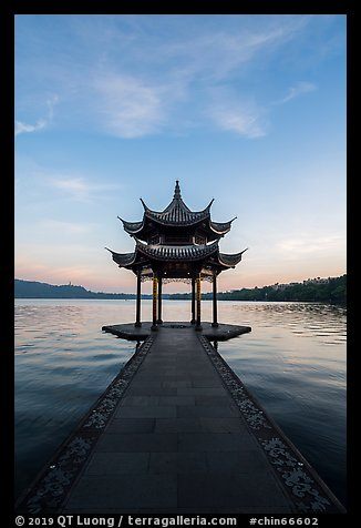 Jixianting at sunrise, West Lake. Hangzhou, China (color)