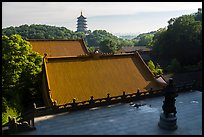 Roofs of Jingci Temple and Leifeng Pagoda. Hangzhou, China