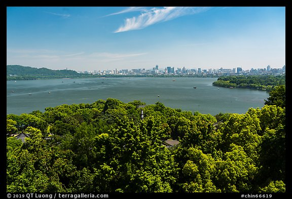 West Lake from Leifeng Pagoda with city skyline. Hangzhou, China (color)