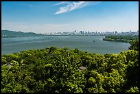 West Lake from Leifeng Pagoda with city skyline. Hangzhou, China