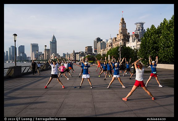 Morning group exercise on the Bund. Shanghai, China (color)