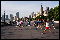 Morning group exercise on the Bund. Shanghai, China ( color)