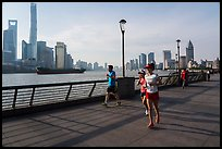 Runners on the Bund. Shanghai, China ( color)